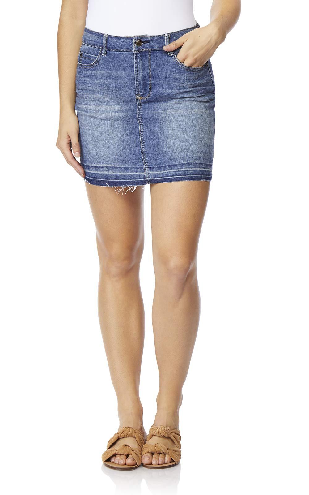 WallFlower Women's Juniors Denim Skirt (11, Mason2)