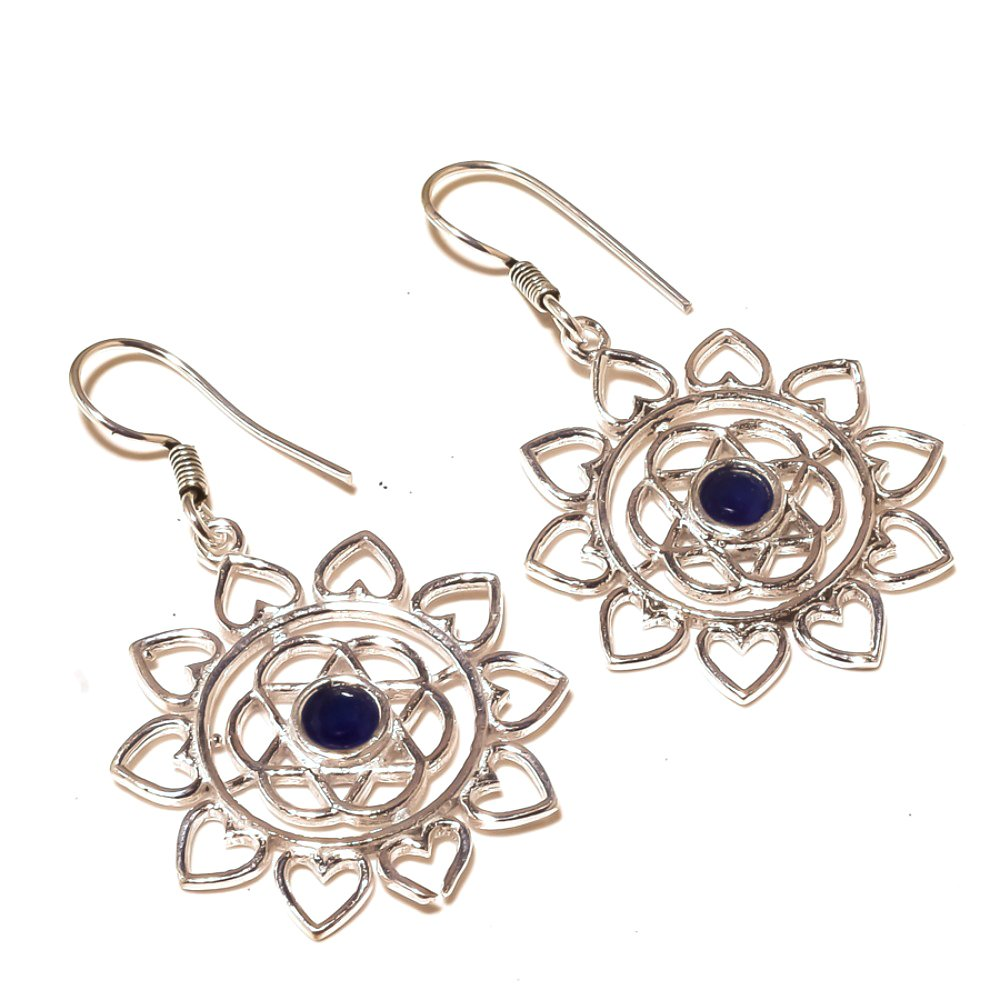 Handmade Jewelry Gorgeous Blue Dyed Sapphire Sterling Silver Overlay 6 Grams Earring 2