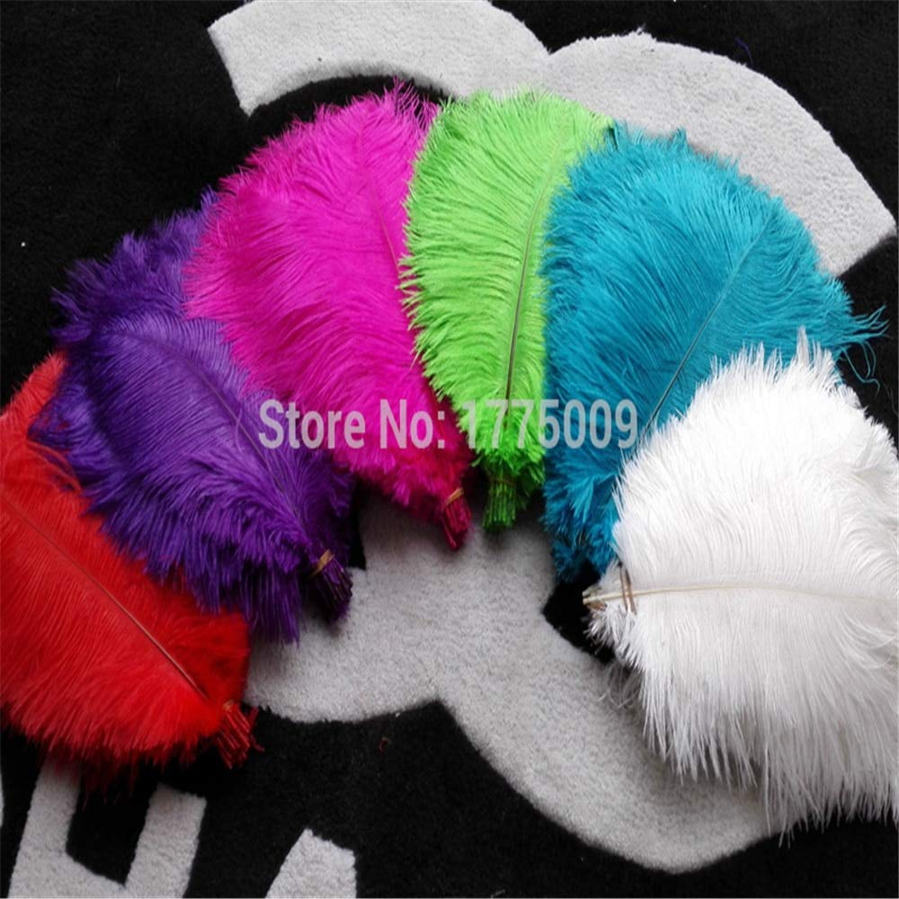 Maslin 200pcs 30-35cm/12-14inch Colored Ostrich Feathers Wedding Table centerpieces 10 Color in Stock Party Decoration - (Color: Every Color 20pcs)