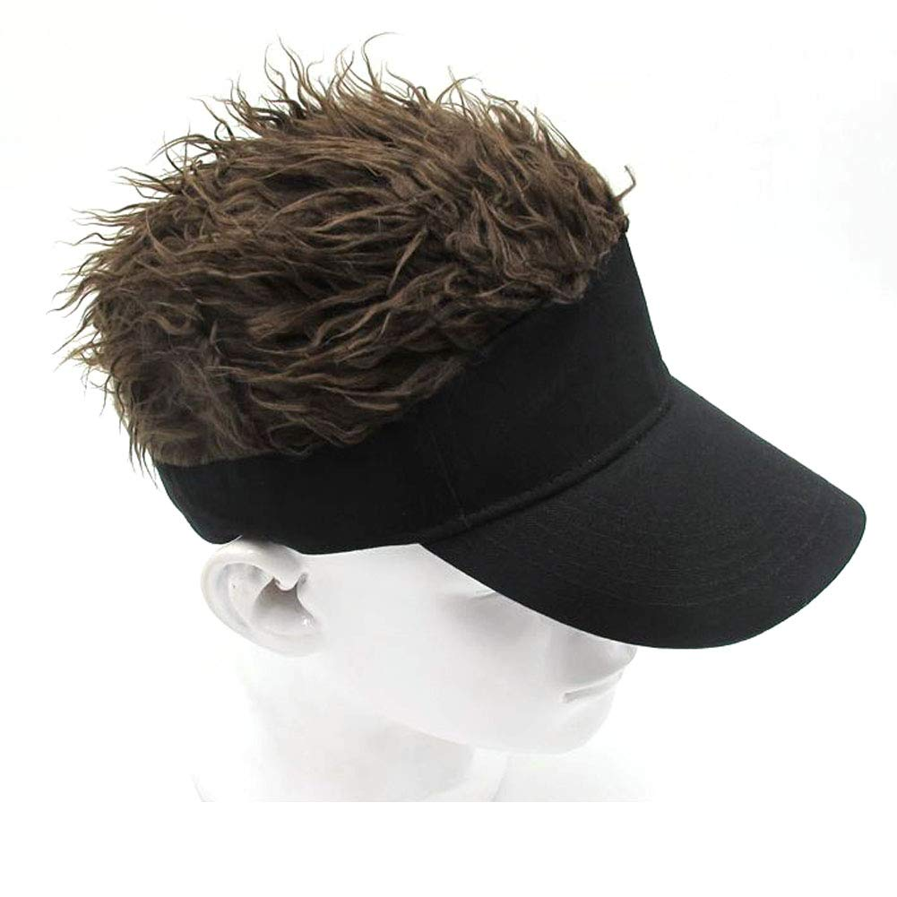 MILANMOOD Novelty Sun Cap Wig Peaked Adjustable Baseball Hat with Spiked Hairs