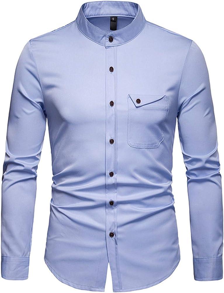 JOLIME Camisa Hombre con Cuello Mao Manga Larga Casual Formal Blusas Trabajo con Bolsillo Azul Claro S: Amazon.es: Ropa y accesorios