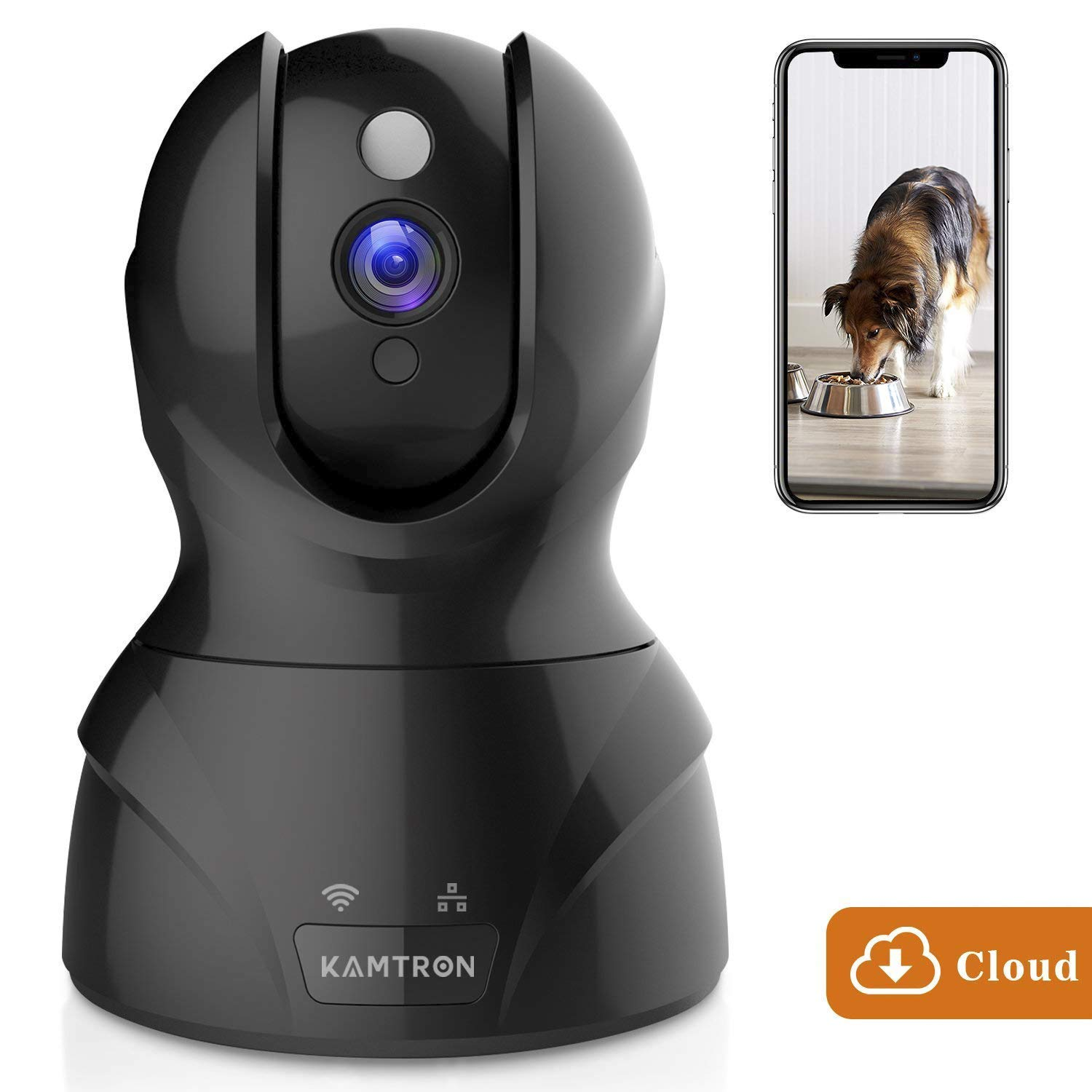 Security Camera WiFi IP Camera KAMTRON HD Home Wireless Baby Pet Camera with Cloud Storage Two Way Audio Motion Detection Night Vision Remote Monitoring Black