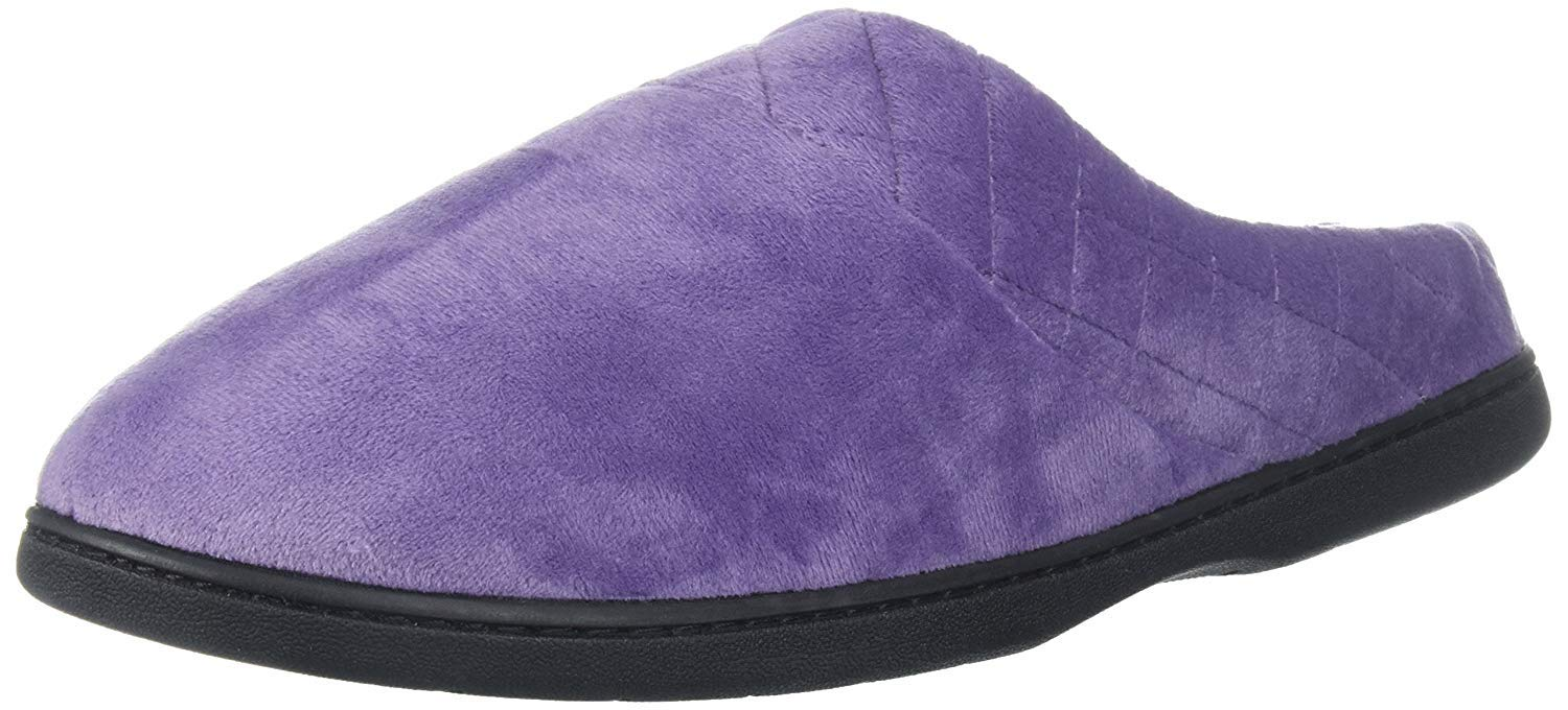 Dearfoams Women's Microfiber Velour Clog w/Quilt, Smokey Purple, XXL Medium US