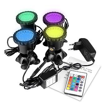 ONEVER llevó el kit subacuático del proyector con teledirigido | 4pcs multicolor RGB acuario luces con
