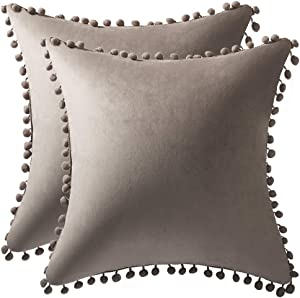 DEZENE Decorative Pillow Covers 18x18 Taupe: 2 Pack Cozy Soft Pom-poms Velvet Square Throw Pillow Cases for Farmhouse Home Decor