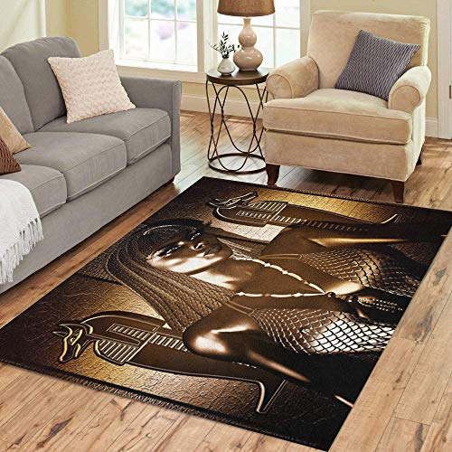 Pinbeam Area Rug Egyptian Goddess Queen in Gold and Bronze Braided Home Decor Floor Rug 3' x 5' Carpet