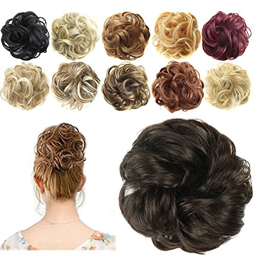Hair Extension Pieces - FESHFEN Synthetic Hair Bun Extensions Messy Hair Scrunchies Hair Pieces for Women Hair Donut Updo Ponytail