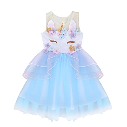 Amazon.com: FEESHOW Girls Appliques Rainbow Tutu Dress Princess Cosplay Costumes Party Outfit Birthday Tutu Dress up Clothes: Clothing