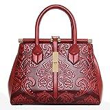 QZUnique Women's Fashion Chinese Style Elegant Empaistic Top Handle Cross Body Shoulder Bag Red
