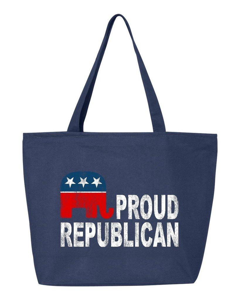 shop4ever Proud Republican Elephant Heavy Canvas Tote with Zipper政治再利用可能なショッピングバッグ12 oz Zip 25 oz ブルー S4E_1215_ProudRep_TB_Q611_Navy_2 B06XTDTCC6 ネイビー 2 ネイビー
