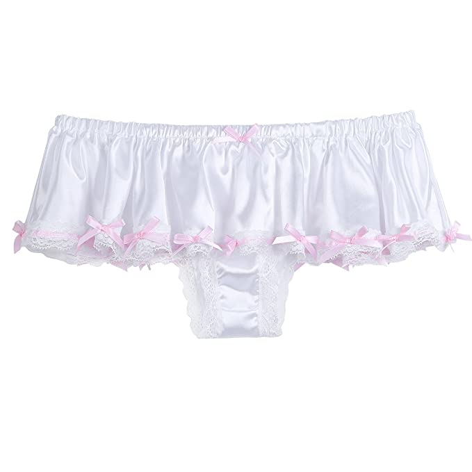 885e6a21f4bb CHICTRY Men's Sissy Underwear Silky Satin Skirted Frilly Panties Girlie  Knickers Ivory Medium(Waist: