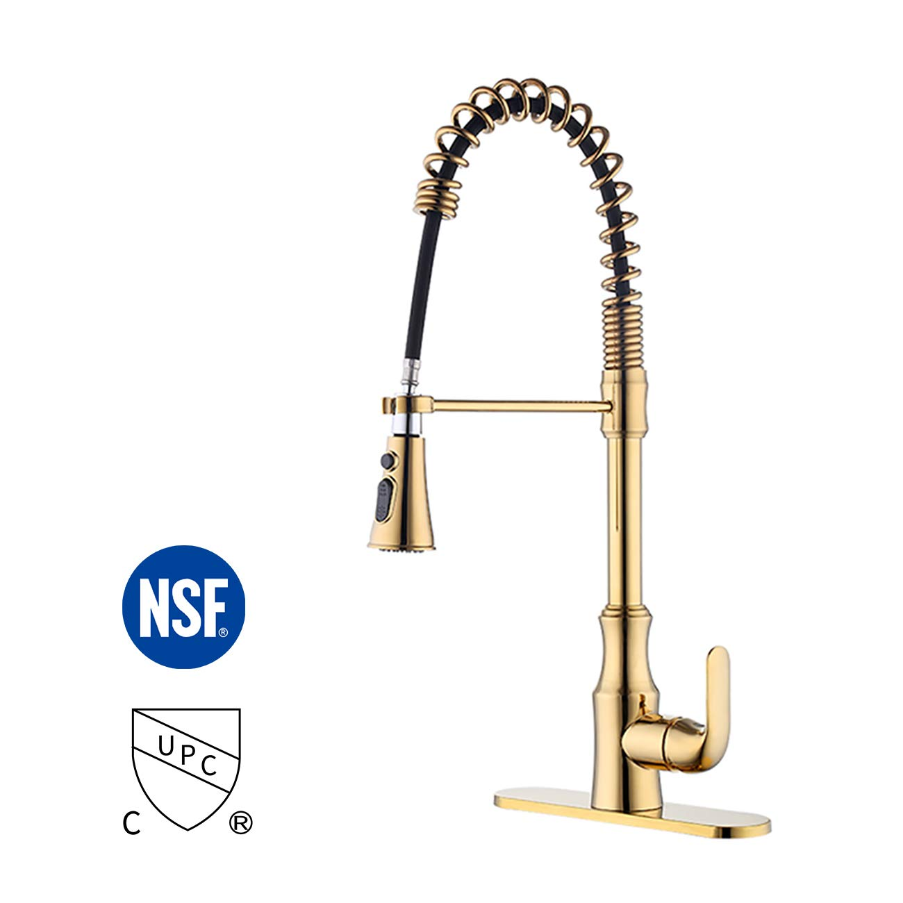 KES Brass Kitchen Sink Faucet with Pull Down Sprayer Titanium Gold cUPC NSF Certified Single Handle Pull Out Faucet, L6936BLF-PG by KES
