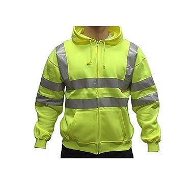 High Visibility Yellow Warm Quality Hooded Sweatshirt Full Zip Hoodie Hoody New