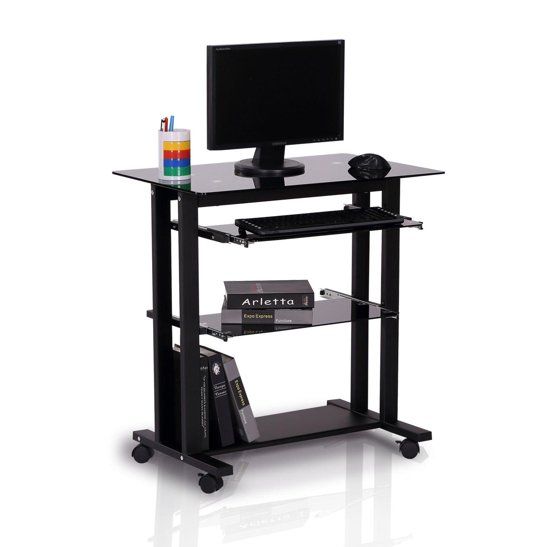 Amazoncom Homcom 33 Glass Top Mobile Home Office Computer Cart