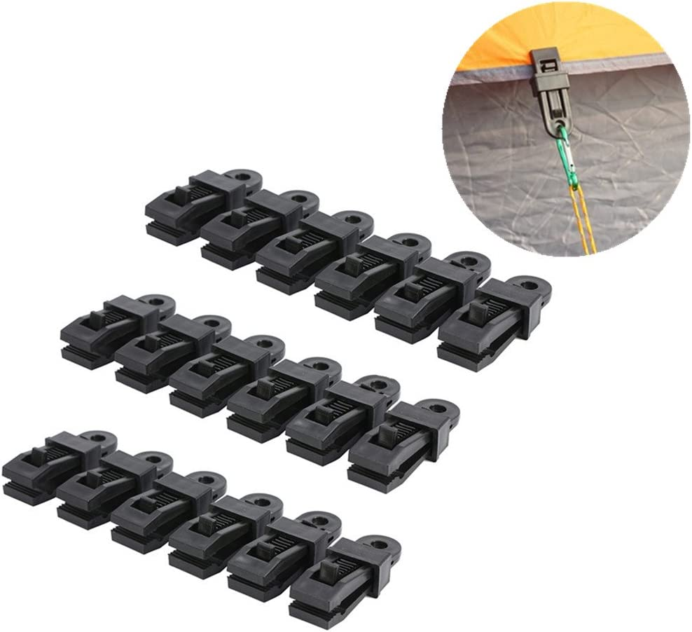 WarmShine Set of 20 Small Clamp Tarp Awning Clamp Set Tarp Clips Black Trap Clips Jaw Tent Snaps Camping Clamp Clips Tent Tighten for Outdoors