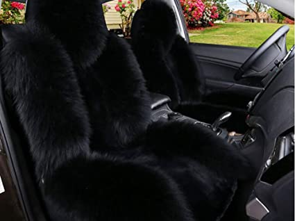 Luxury And Noble Fluffy Australian Sheepskin Wool Car Seat Covers Front Set 2pcs