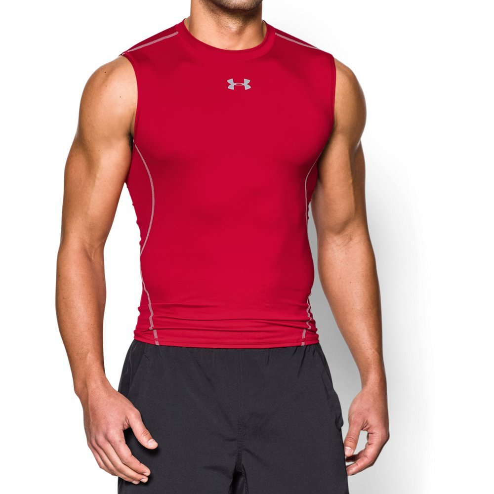 Under Armour Men's HeatGear Armour Sleeveless Compression Shirt, Red /Steel, Small