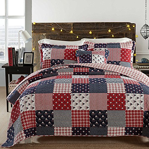 Paisley Reversible Coverlet 3-Piece Patchwork Quilt Set with Shams Soft Cotton Plaid Check Pattern Bedspread&Comforter Queen Size Summer Blanket 1 Quilt 2 Pillow Shams Boy Girl Gift