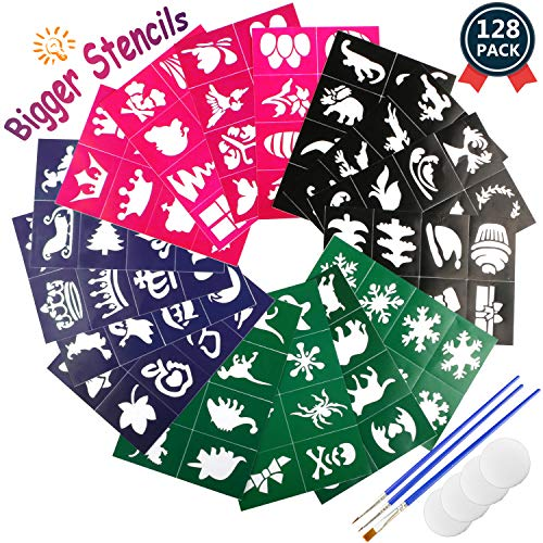 Buluri 128 Pack Face Paint Stencils for Boys & Girls, Non-Toxic Reusable Easy to Stick Down, Bigger Stencils 7.09x4.72 inch, Adhesive Body Paint Stencils for Birthday Party, Christmas, Halloween