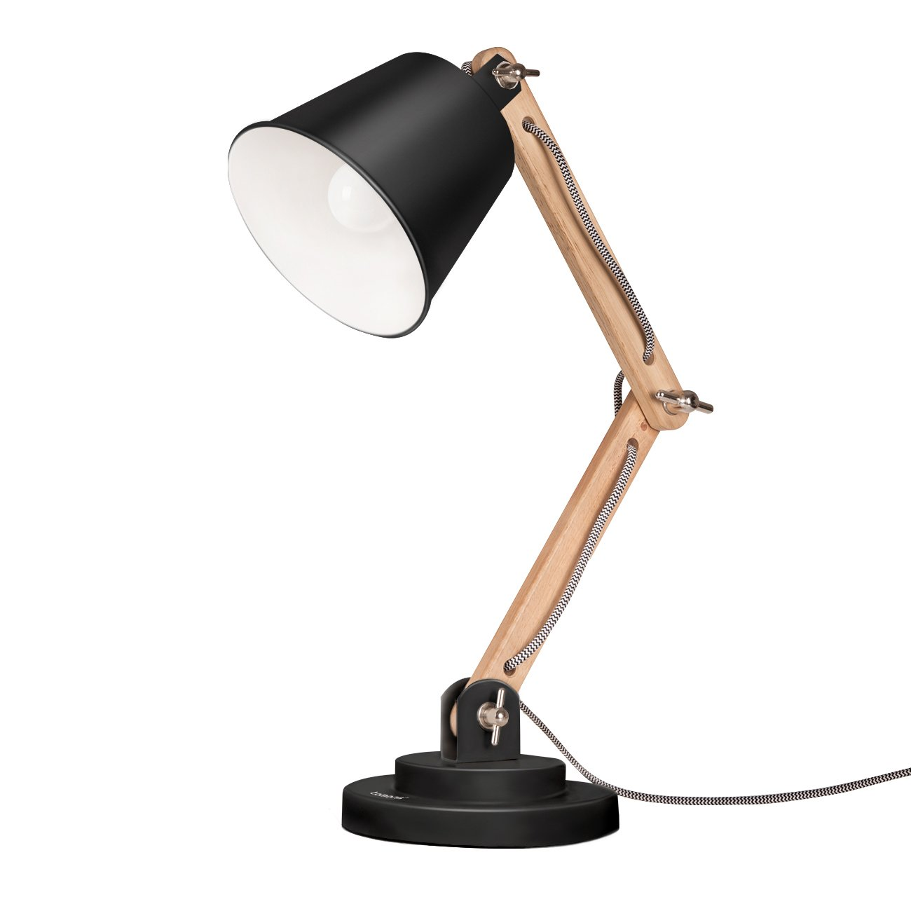 Tomons Swing Arm Desk Lamp, Natural Wood Table Lamp, Reading Lights, Work Lamp, Study Lamp with Retro Design for Living Room, Bedside - Black