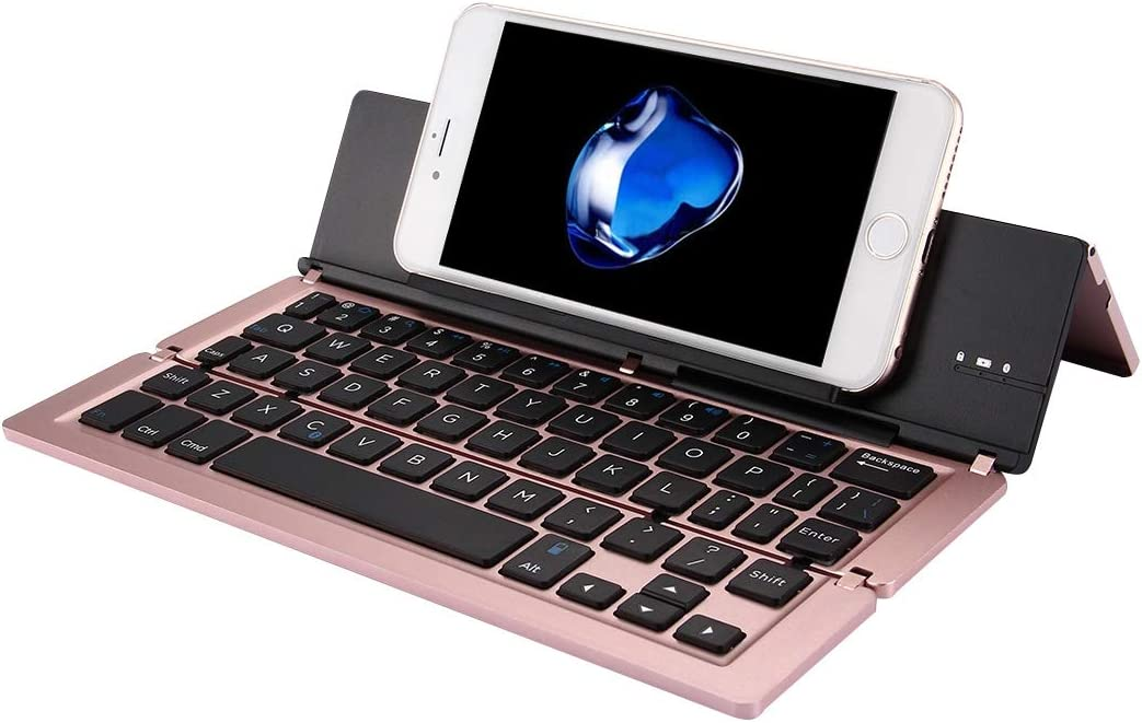 Grey Color : Rose Gold IPartserve Computer Accessories HA F18 Ultra-Slim Rechargeable Foldable 58 Keys Bluetooth Wireless Keyboard with Holder