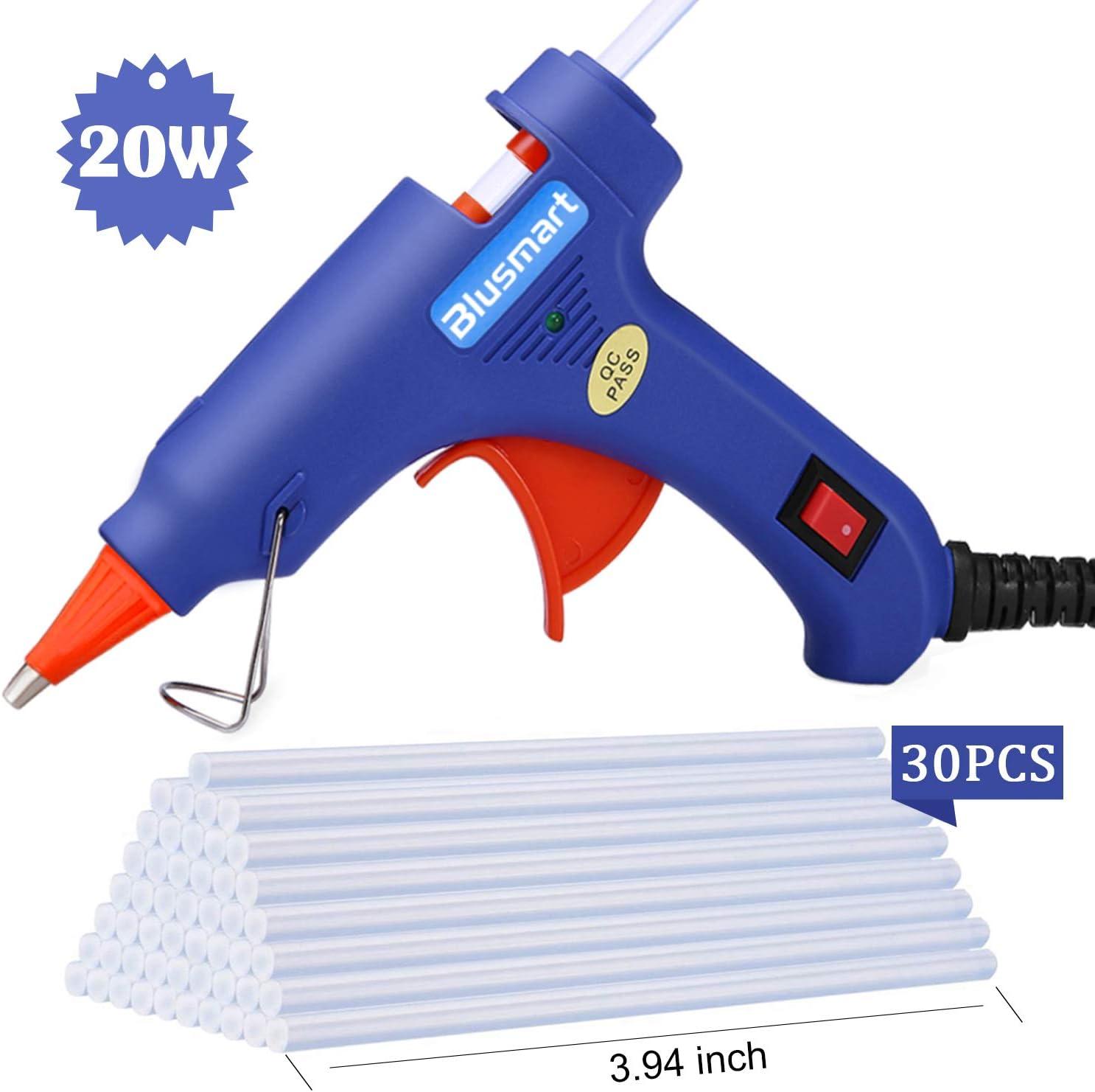 Hot Glue Gun,Blusmart Upgraded Version Glue Gun with 27pcs Glue Sticks, 27W  Mini Hot Glue Gun Blue Fast Heating for DIY Craft Projects and Home Quick
