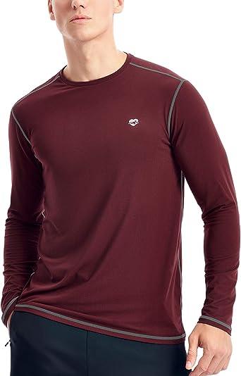 Mens Mock Compression Shirt Base Layer Top Long Sleeved Gym Sports Lightweight