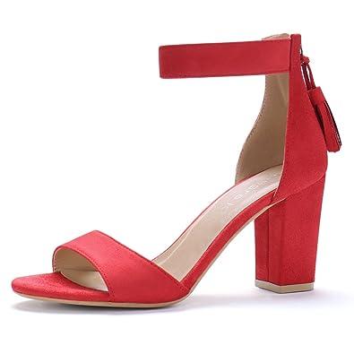 4faf1ae2b8a Allegra K Women s Chunky High Heel Tassel Ankle Strap Red Sandals - 6 ...