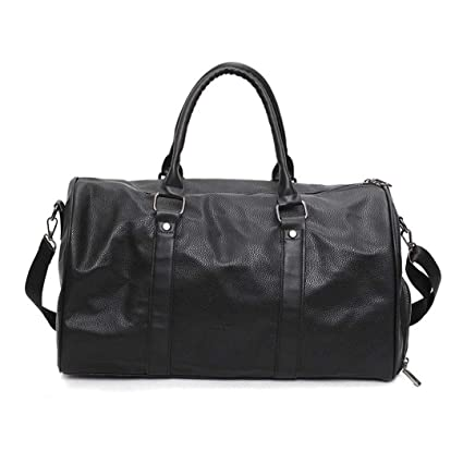 KHDRVJ Black Pu Leather Gym Bag Big for Women Fitness Outdoor Men s  Gymnastic Bags for Shoes 79f15457d3e0b