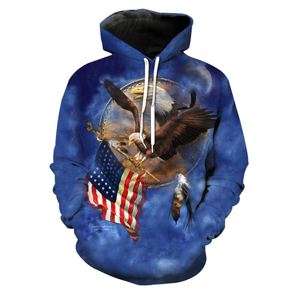 Fly Eagle to Seize The American Flag Blue Hooded Sweatshirt Autumn Pullover