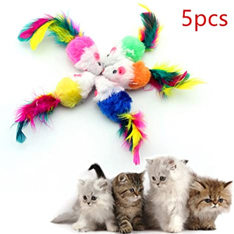 Maibar Gatos Juguetes Ratón Juguete para Gato Perros Ratones Interactivo para Mascotas 5 Piezas (5