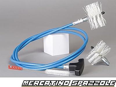Kit de limpieza de estufas de pellets, conductos de humos con codos: Cable de 3 metros + 2 Escobillas de 80 y 100 mm