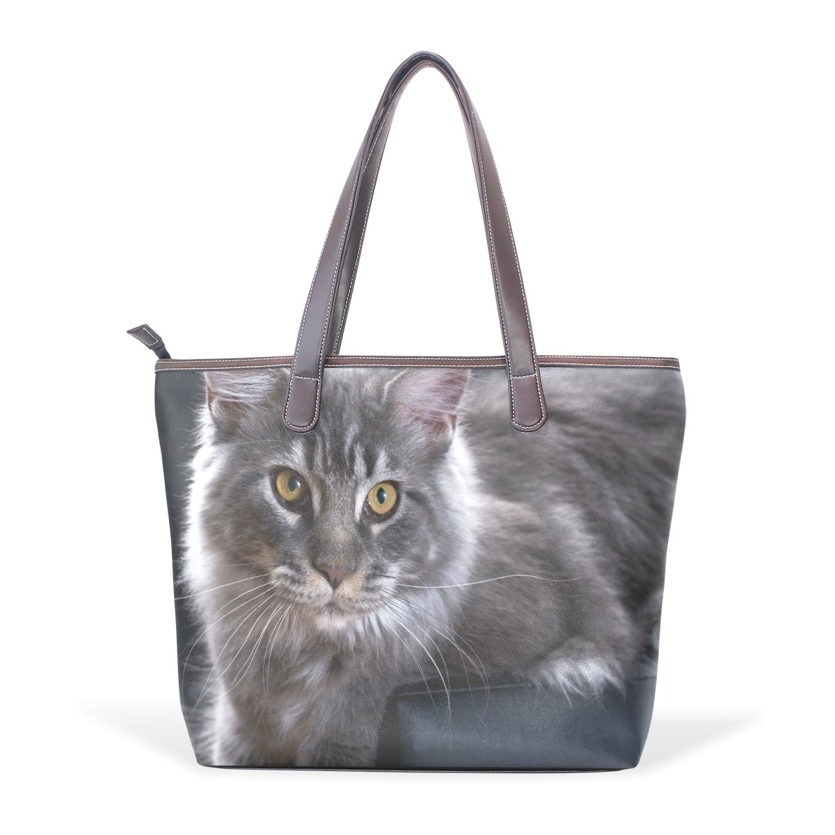 SCDS Abstract The Cat PU Leather Lady Handbag Tote Bag Zipper Shoulder Bag