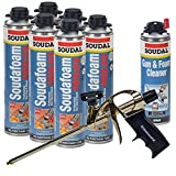 Soudal PRO Fireblock Foam Sealant 24 oz can (6 Cans), Professional Foam Gun, 1 can Gun & Foam Cleaner