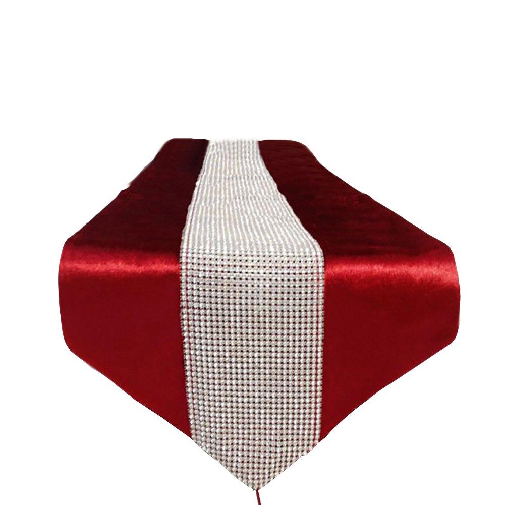 MAGILONA ホームテーブルカバー テーブルランナー クラシック タッセル ビーズ ウェディング ダイニング パーティー クリスマス 感謝祭 装飾 13x83 インチ 13x83 In レッド  Red#8 B07PHM21GX