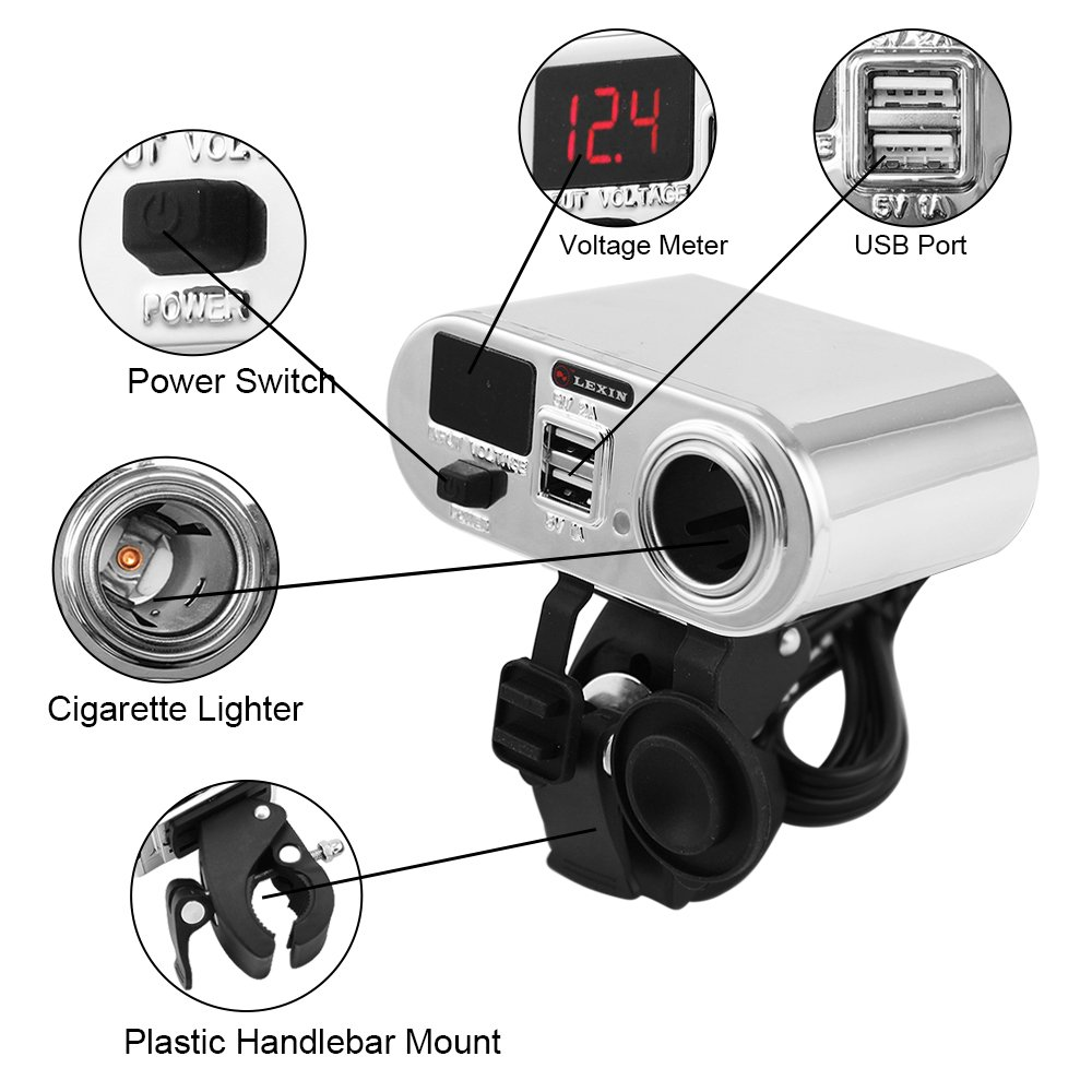 Lexin Chrome Waterproof Motorcycle 3 In 1 Handlebar 2016 New 12v 120w Car Cigarette Lighter Power Socket Plug Station Cigarrete Usb Charger Voltage Meter Automotive