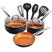 Deals on Shineuri 9-Pieces Copper Cookware Pans and Pots Set