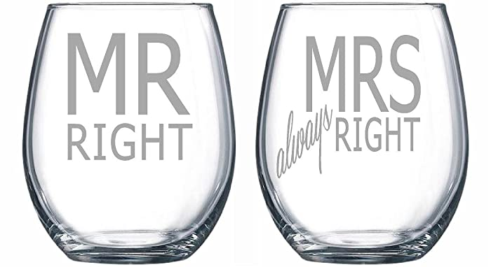 mr right and mrs always right 15 oz laser etched stemless wine glass set - Etched Wine Glasses