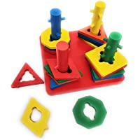 Small Intellectual Wooden Geometric Shape Matching 4 Column Shape Sorter Toys for Kids ( Toys for 3 Year+ Boys and Girls )