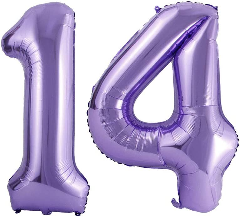 Mermaid Theme Party Balloon Supplies 40inch 14th Birthday Party Decorations Number 14 Purple Foil Jumbo Digital Mylar Balloons