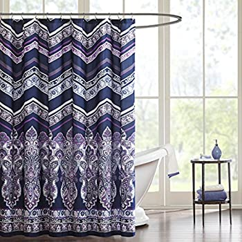Two Layered Embroidered Fabric Shower Curtain With Attached Valance Purple Low Cost