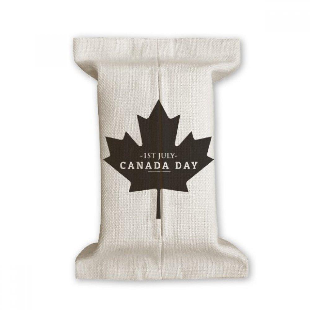 Happyカナダ日4th of JulyブラックMaple Leafティッシュペーパーカバーコットンリネンホルダーストレージコンテナギフト B07CPG43L7