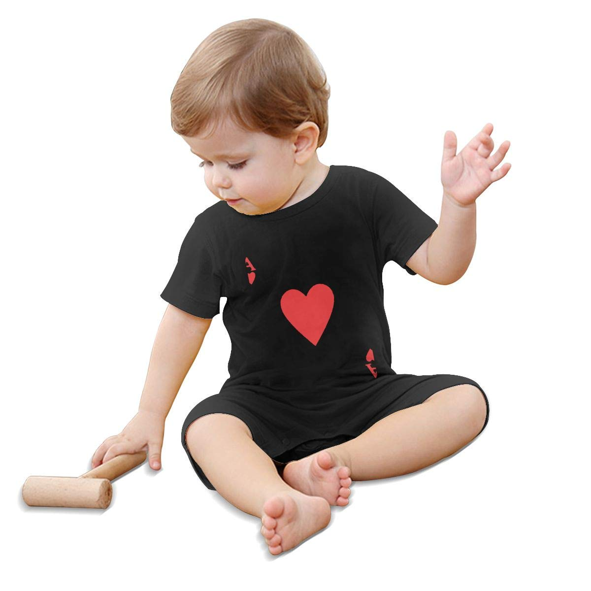 Baby Infant Boy Girl Short Sleeve RED Heart of A Ace of Spades Poker Jumpsuit Romper Pajamas Clothes Summer Outfits Black