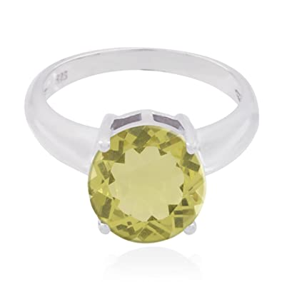 Faishon Jewelry Nice Seller Gift for Childrens Day Personalized Ring Lovely Gemstones Round cabochon Lemon Quartz Rings 925 Silver Yellow Lemon Quartz Lovely Gemstones Ring