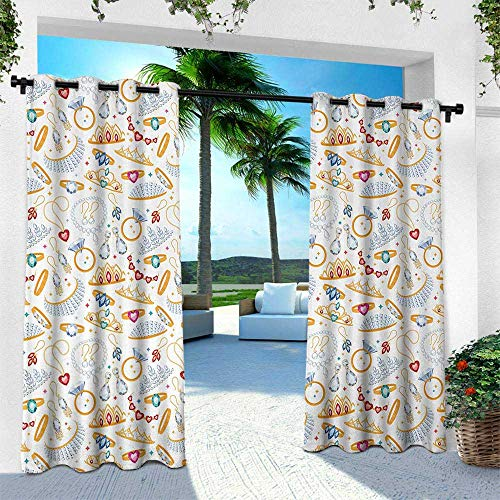 Pearls, Outdoor Patio Curtains Waterproof with Grommets,Pattern with Accessories Diamond Rings and Earring Figures Image Digital Print, W96 x L108 Inch, White Yellow