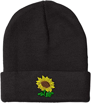 Sweet Floral Knit Cap Beanie Hat Skull for Mens Black
