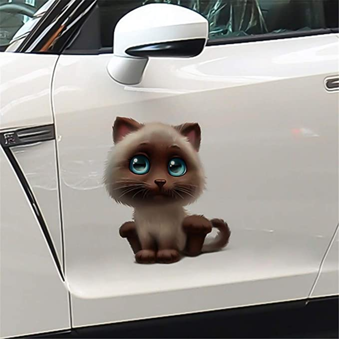 Funny Body Car Sticker Animal 3D Cartoon Lovely Cat Widow Car Stickers Decals Car-Styling Accessories for Kids