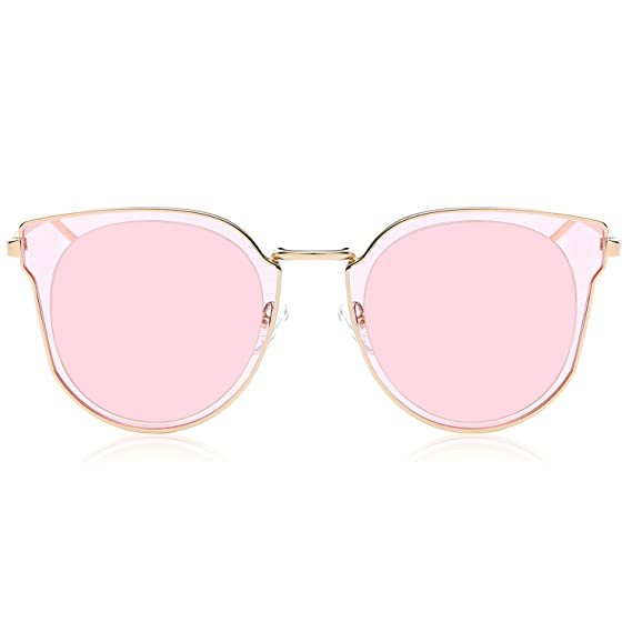 6687c34114c SOJOS Polarized UV Mirrored Lens Oversize Metal with Rose Gold Frame Unisex  Sunglasses