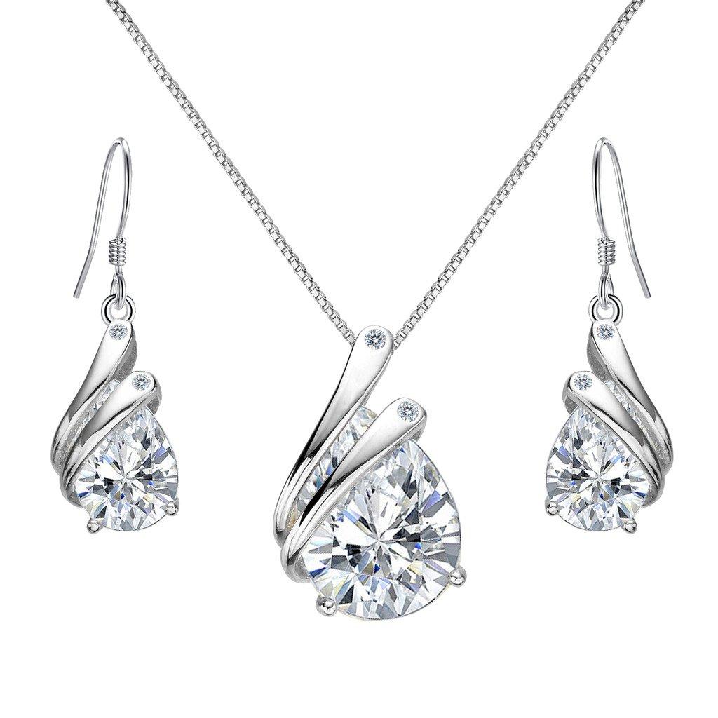 EleQueen 925 Sterling Silver Full Prong Cubic Zirconia Ribbon Teardrop Bridal Necklace Hook Earrings Set Clear