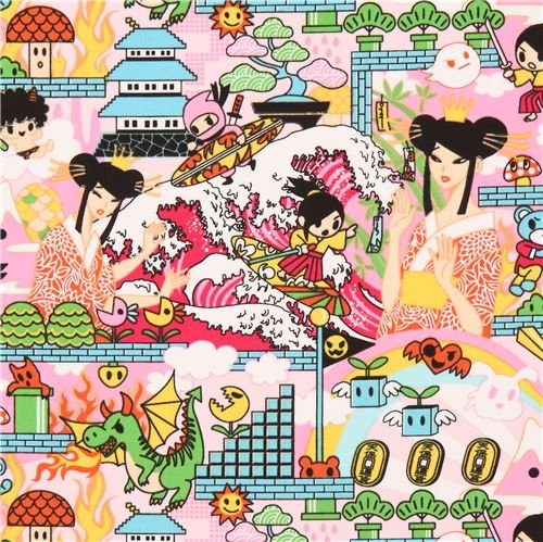pink Japanese Anime Manga character animal fabric (per 0.5 yard multiples)